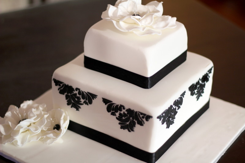 Two Tier Formal Wedding Cake With Demask Stencil And Flowers Side - Formal birthday cakes