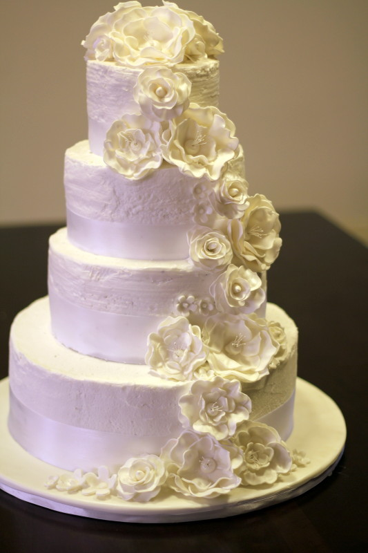 wedding cake flower cascade