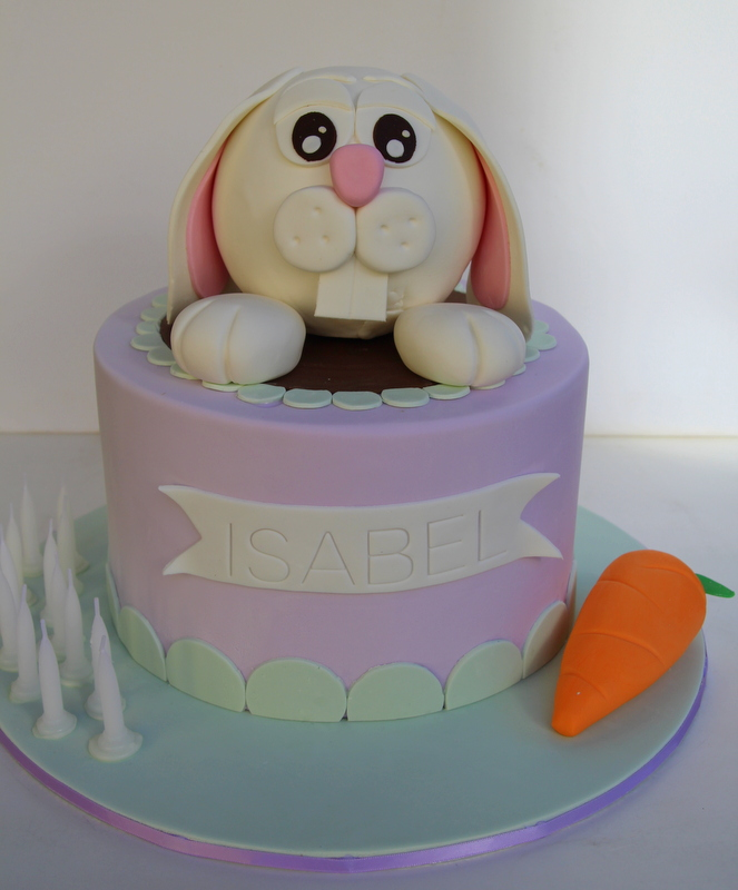 cute rabbit birthday cake with carrot Emma Townsend Cakes