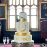 Italian Luxe Wedding cake Multi five tier gold roman numerals