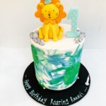 First birthday cake Fondant tiger topper Jungle fondant
