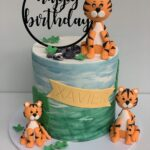 Painted fondant Tiger acrylic topper Happy Birthday cake