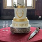 wedding cake five tiers multi italian luxe roman numeral fondant wedding cake